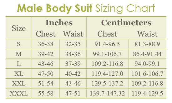 Male Bodysuit Chart